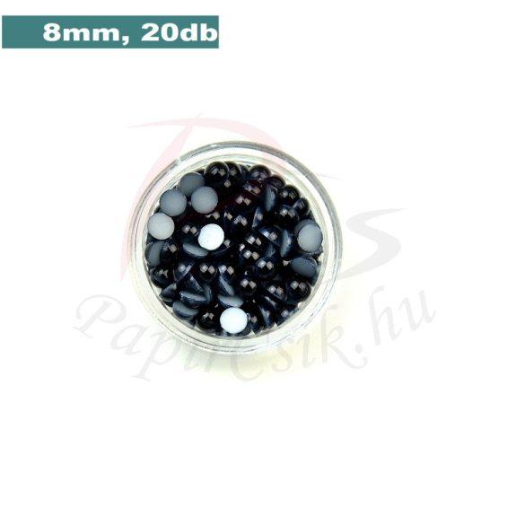 Kunststoff-Halbkugelperle, schwarz (8mm, 20 Stück)