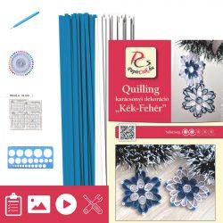 Blau-Weiß - Quilling Muster (200 Stück Streifen, Beschreibung, Werkzeuge)