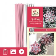 Rosa-Weiß - Quilling Muster (200 Stück Streifen und Beschreibung mit Bilder)