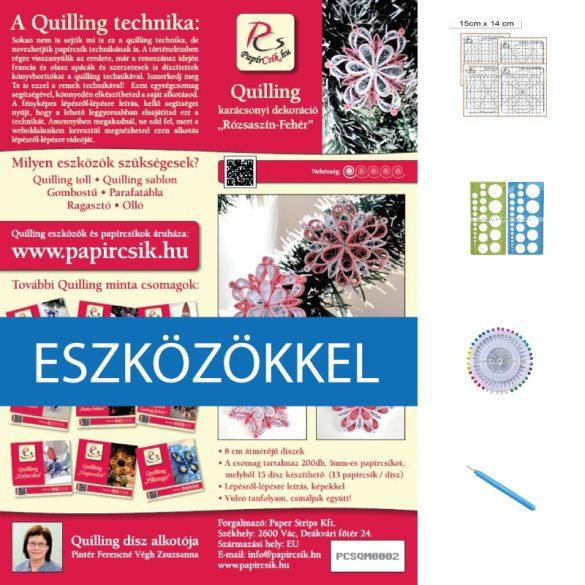 Rosa-Weiß - Quilling Muster (200 Stück Streifen, Beschreibung, Werkzeuge)