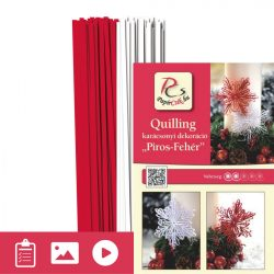 Rot-Weiß - Quilling Muster (200 Stück Streifen und Beschreibung mit Bilder)