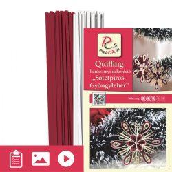 Dunkelrot-Perlweiß - Quilling Muster (200 Stück Streifen und Beschreibung mit Bilder)
