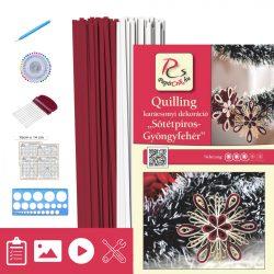 Dunkelrot-Perlweiß - Quilling Muster (200 Stück Streifen, Beschreibung, Werkzeuge)