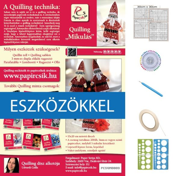 Nikolaus - Quilling Muster (200 Stück Streifen, Beschreibung, Werkzeuge)