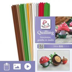 Kastanie, Pilz und Eichel - Quilling Muster (310 Stück Streifen und Beschreibung mit Bilder)