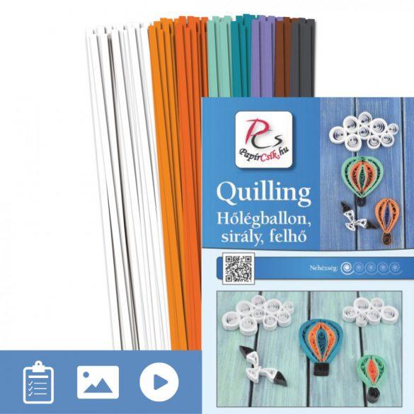 Heißluftballon, Möwe, Wolke - Quilling Muster (200 Stück Streifen und Beschreibung mit Bilder)