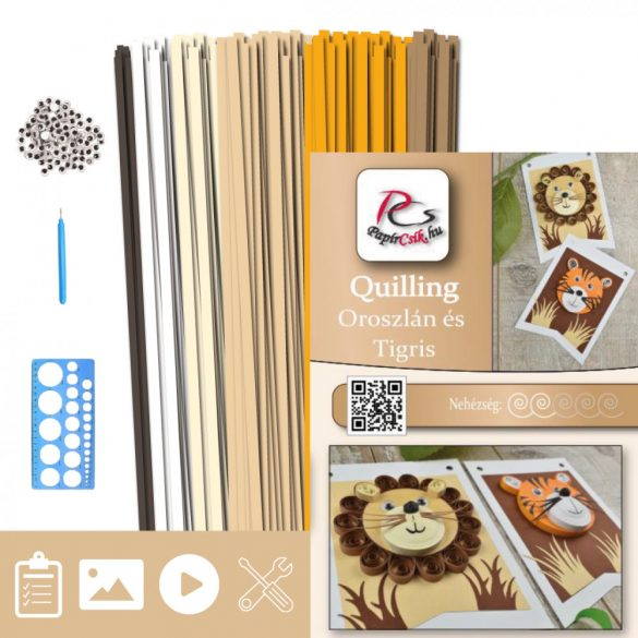 Löwe und Tiger - Quilling Muster (230 Stück Streifen, Beschreibung, Werkzeuge)