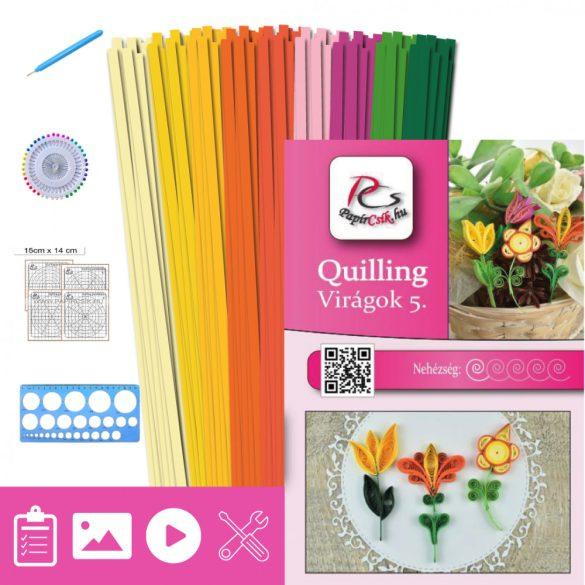 Virágok 5. - Quilling minta (180db csík 10-10-10db mintához és leírás, eszközök)