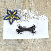 Blumen Lätzchen (schwarz, 1mm, 50Stück)