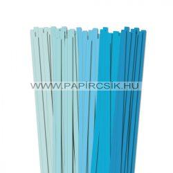 Halványkék árnyalatok, 10mm-es quilling papírcsík (5x20, 49cm)