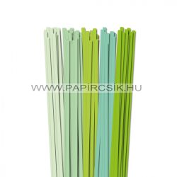 Halványzöld árnyalatok, 7mm-es quilling papírcsík (5x20, 49cm)