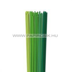Zöld árnyalatok, 4mm-es quilling papírcsík (5x20, 49cm)