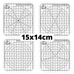 Quilling Schablonen Papier – 30, 60, 72 und 90 Grad Aufteilung (4 Stück, 15 x 14 cm)